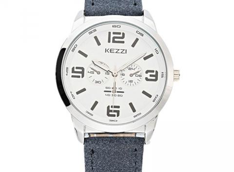 cf4242ea3b4 KEZZI Pánske hodinky. Štýlové pánske hodinky japonskej výroby s koženým  remienkom.