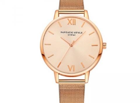 Elegantné dámske hodinky značky LVPAI s kovovým remienkom zlatej farby . c083c316f26