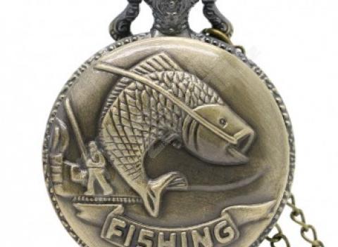 9f362e59b06 Vintage vreckové hodinky pre rybárov v brondzovej farbe