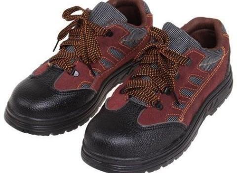 Nízke pracovné kožené topánky s vystuženou špičkou v čierno červenej farbe 57f1dcafb5f