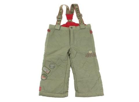 Pohodlné detské zimné lyžiarske nohavice v khaki farbe 752cc5c63d9