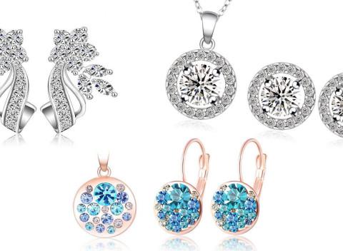 c22afac9a018 Set šperkov alebo náušnice so zirkónmi a rakúskymi krištáľmi + darčeková  krabička zdarma.