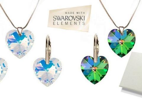 Jedinečný set Swarovski v tvare srdca. Luxusný a elegantný darček v rôznych  farbách pre všetky bebb036d7d2
