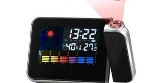 Elegantný a praktický mini budík s projektorom. Premieta čas, disponuje s funkciou driemania a zobrazuje aj počasie.