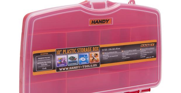 Praktický plastový kufrík - veľký, rozdelený na 12 pevných častí, na uloženie drobných súčiastok a príslušenstva.
