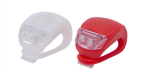Sada LED lámp na bicykel so silikónovým obalom. Super jasné LED svetlo pre optimálne osvetlenie vozovky a zvýšenie vašej bezpečnosti.