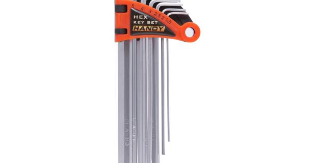 Sada zahnutých imbusových kľúčov 9 ks, vyrobených z chróm-vanádovej ocele, vrátane plastového púzdra so závesom.