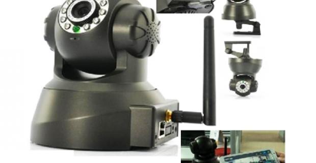 Bezdrôtová wifi otočná kamera kompatibilná so smartphone. Použiteľná ako súčasť bezpečnostného systému či ako iPhone Baby monitor.