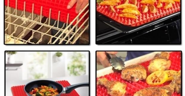 Podložka na pečenie je použiteľná v bežnej rúre aj v mikrovlnke. Vďaka malým pyramídkam vzduch prúdi rovnomerne.