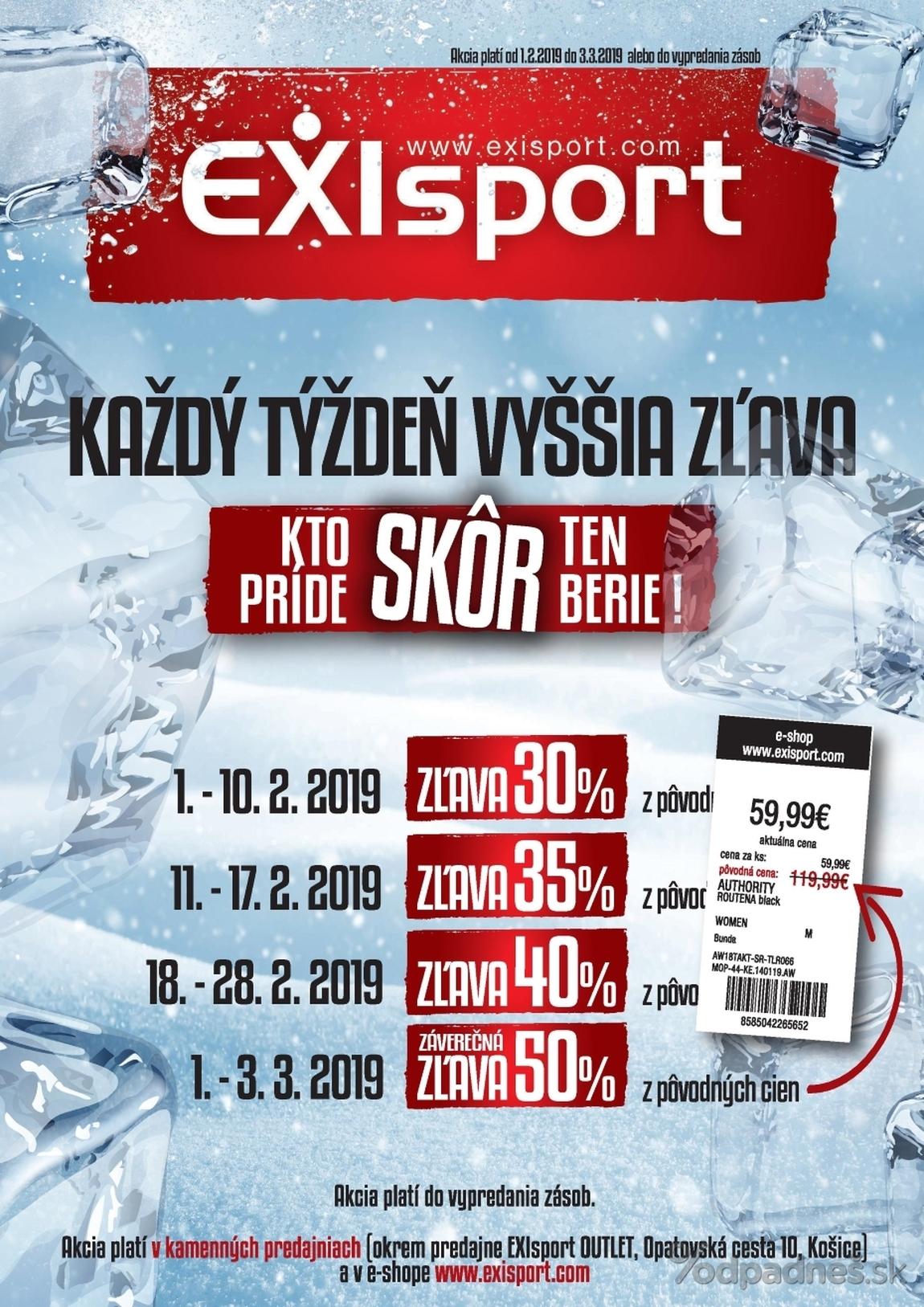 1. stránka Exisport letáku